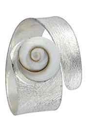 Anillo en plata de ley y banda de concha ojo de shiva