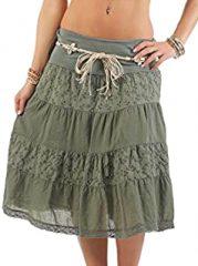 Falda larga con cinturón de algodón moda italiana