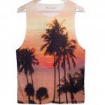 Remeras de verano playa con palmera de tirantes