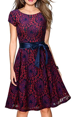 Vestido de encaje vintage 1950s casual