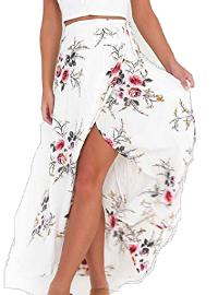 Falda larga asimétrica con lado abierto
