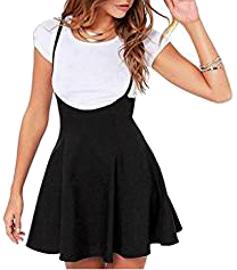 Falda negra plisado con correa de hombro