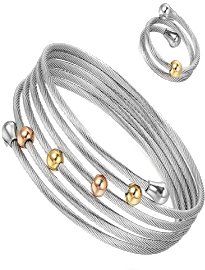 Juego de anillo y pulsera ajustables bolitas de acero inoxidable