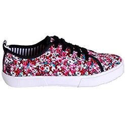 Zapatillas de tela con flores