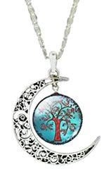 Collar de cristal con media luna de árbol vida