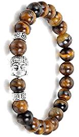 Pulsera de cuentas agatas marrón Buda plata tibetana