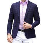 Trajes de verano elegante, americana azul, camisa rosa