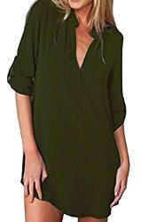 Blusa tunica con manga larga y cuello V