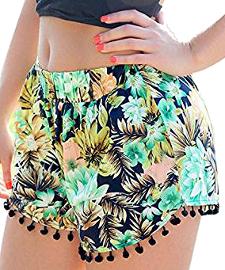 Pantalones cortos de borlas con flores