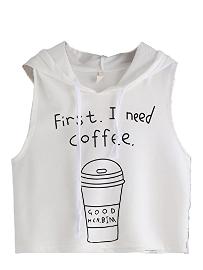 Remera chaleco sin mangas de café con capucha
